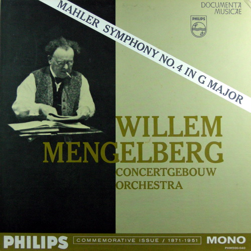 WILLEM MENGELBERG CONCERTGEBOUW ORCHESTRA OF AMSTE - Mahler's Symphony No. 4 In G Major - LP