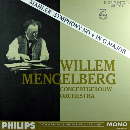 WILLEM MENGELBERG CONCERTGEBOUW ORCHESTRA OF AMSTE - Mahler's Symphony No. 4 In G Major - LP